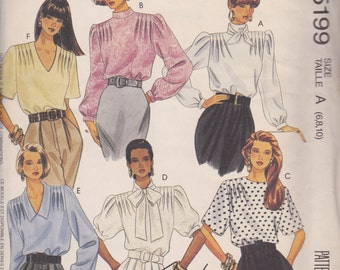 McCall's 5199 Misses' Blouse and Scarf Sizes 6, 8, 10 Vintage UNCUT Pattern