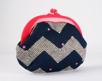Plastic frame purse - Pink dots on big chevron - Gamaguchi large / Neon pink kisslock purse / Geometric Tribal Boho Modern / Navy blue white