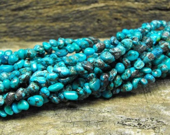 HUBEI TURQUOISE NUGGETS 00358 genuine precious gemstone Sacred Tibet tiny small 3-5 mm free form natural stones bead strand whole or half