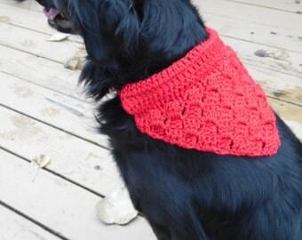 Red Medium Pet Bandanna, Soft dog bandana, Collar Cover, Dog Clothing, Ready to Ship Summer CLEARANCE EVENT