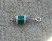 Crochet Knitting Row Counter Stitch Marker  -  green with yellow flowered limo clay beads  - removable lobster claw clasp