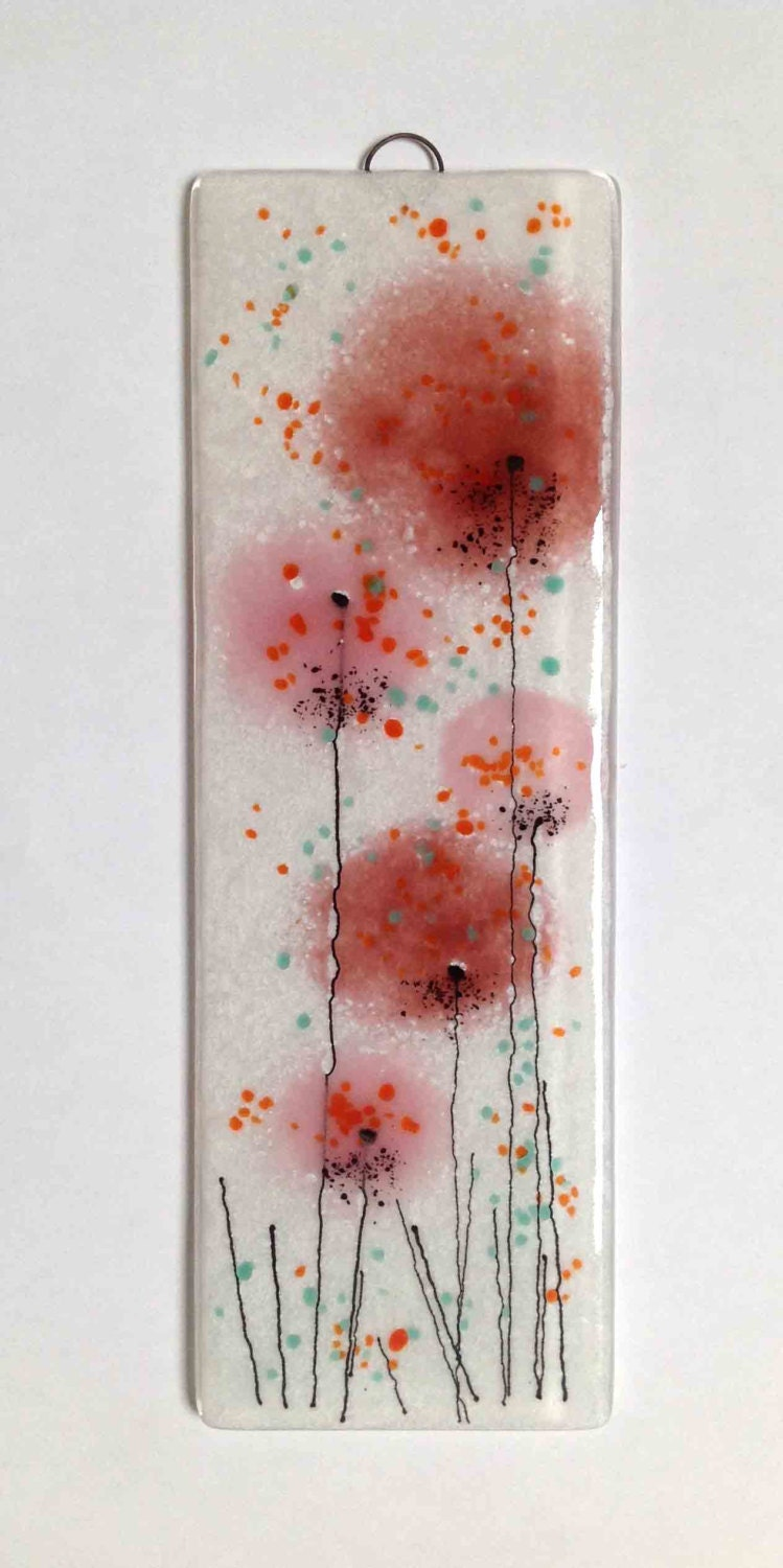 Pink coral salmon fused glass wall art flower panel hanging for Wall artwork paintings