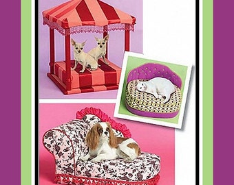 BEVERLY HILLS POSH- Celebrity Designer Pet Bed Collection-Sewing Pattern-Chic French Chaise-Exotic Pagoda-Posh Cat Bed-Uncut-Rare