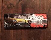 New York Vintage Taxi Yellow cab- Manhattan original mixed media,graffiti,transfer,urban, ready to hang street art on stretched canvas