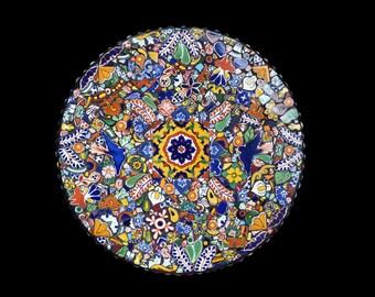 Mosaic Lazy Susan or Wall Hanging Made with Talavera Tiles