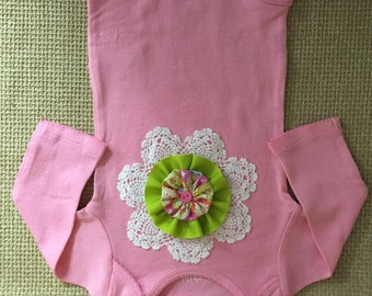 Baby Girl Pink Embellished Bodysuit...Size 3-6m...Ready to ship..Baby Shower Gift