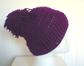 Womens Crochet Beanie in colour Amethyst Purple with a Pom Pom