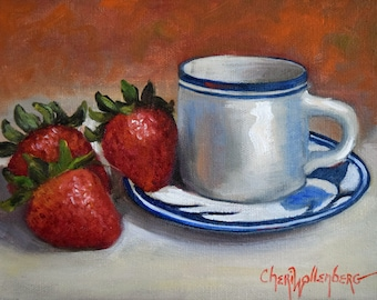 Still Life Painting Food Strawberries Blue And White Demitasse Cup and Saucer by Cheri Wollenberg