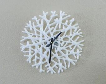 Coral Clock in White Art Glass - Beach Seaglass Wall Clock