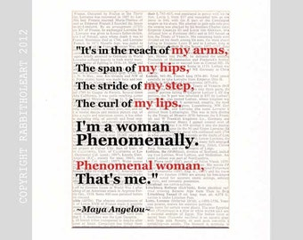 Maya Angelou Phenomenal Woman poster art print wall decor Quote on vintage dictionary book page African American History black red 8x10, 5x7