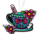 Teacup Necklace Tattoo Style by Dolly Cool with tea spoon, flowers and sugar lumps
