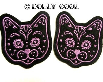 Cat patch Pair of Violet Purple Sugar Skull Kitty (more and custom colors available) by Dolly Cool