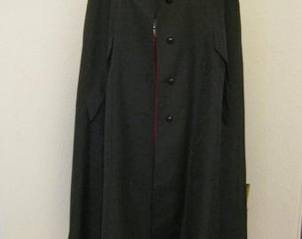 Vintage 70s black fabric midcalf cape, raincoat fabric black cape, M or L black lightweight cape coat, Union label black cape, lined cape