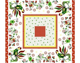 Priced Reduced!  Multi Rooster Canvas Tablecloth panel (113-1171) - Fabri-Quilt