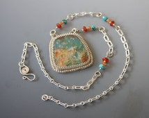 Regency Plume Agate over turquoise doublet Pendant Necklace in Sterling Silver Metalwork