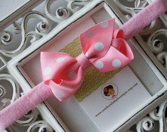 New Item----Boutique Baby Girl Hair bow Dainty Headband-----Pink Dot----Makes a Perfect Gift