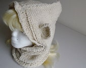 knit ivory colored hooded bear cowl child teen