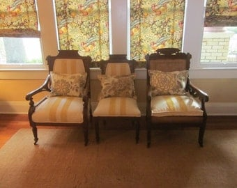 Antique Arm Chair Pair with Painted Canvas Upholstery