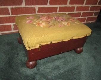 Antique Victorian Footstool with Ball Feet Covered in Floral Wool Needlepoint