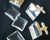 8pcs Combo (2 pairs) - 16mm Silver Plated Brass Square Cufflink Blank with Glass tile incerts