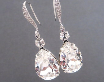 Crystal Bridal Earrings, Teardrop Wedding earrings, Wedding jewelry Swarovski Wedding earrings Bridal jewelry, Crystal Drop Bridal Earrings