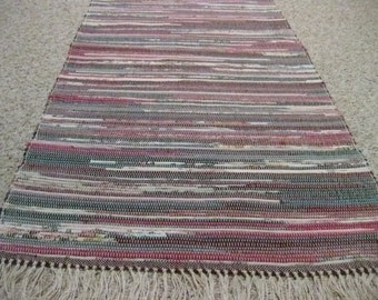 Handwoven Green and Cranberry Rag Rug 25 x 50 (M)