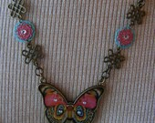 Butterfly-brasschain necklace with  and rhinestones, 20 1/2 inches, or 52 cm