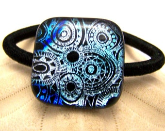 Silver Blue Steampunk Hair Tie - Pony tail Holder -Dichroic Fused Glass - OOAK Dichro glass- wearable Art