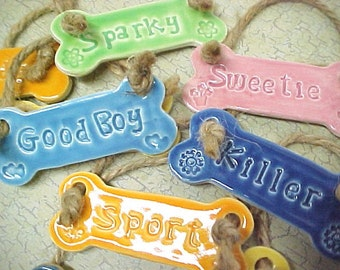 Personalize Pet Ornament | Dog Bone Ornament | Engraved Dog Name | Made to Order | Pet Lovers Gift | Pet Accessories | Bright Colors