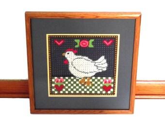 Needlepoint Hen Chicken Cottage Chic Art Spring Decor