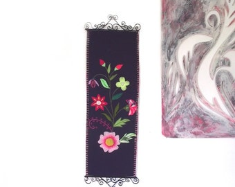 70s Wall Hanging / Embroidered Floral Textile Art / Purple