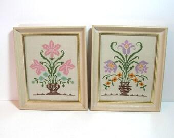 Framed Cross Stitch Samplers - Vintage Needlework