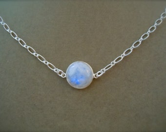 Rainbow Moonstone Domed necklace