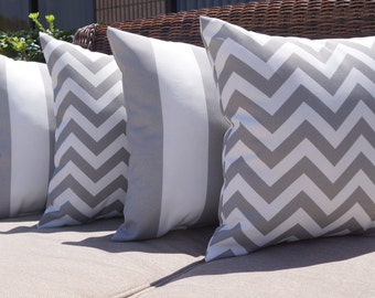 Grey Outdoor Pillow, Deck Stripe Gray and Zig Zag Gray Outdoor Decorative Throw Pillow Free Shipping