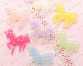 Starry Glittery Unicorn Cabochon / Fairy Kei Pastel Goth / Flatback Cabochon - 7pcs