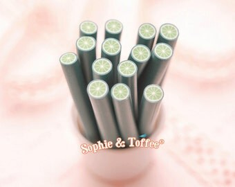 Polymer Clay Fruit Lime Canes Set of 12pcs