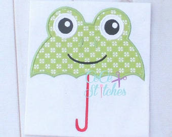 Frog Umbrella Embroidery Applique Design