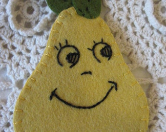 Needle Book or Needle Case of an Animated Pear with the cutest Smile Sweet & Happy Pear Needle Book