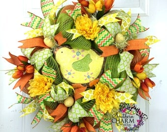 Deco Mesh Spring Wreath -Spring Wreath Front Door -Sugar Cookie Chick -Spring Decor -Tulip Wreath -Yellow Orange Lime -Easter decor