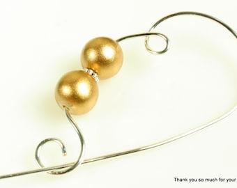 Metallic Gold Wood Shawl Pin, Scarf Pin, Brooch - Metallic Gold Wood Beads