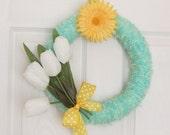 Wreath White Tulip Yarn Yellow Flower Spring Wall decor