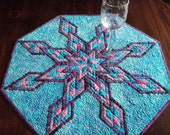 Handmade Quilted Table Topper in Teal and Purple, Split Diamond Dazzler Quiltsy