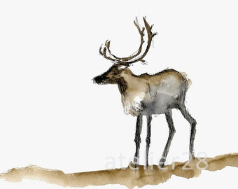 giclee art print of a watercolor painting of a reindeer