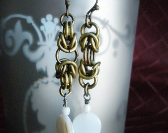 Byzantine Chainmaille Earrings with Czech Glass and Shell