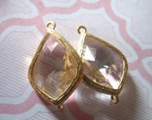 2 pcs, Clear Crystal Glass Pendant Charm, 22x14 mm, Bezel Glass Stone, Gold or Silver Plated Brass, Wholesale Wedding Supplies GP2.C. ll