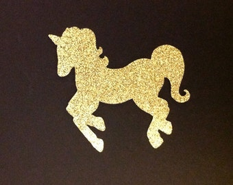 Glitter unicorn die cut embellishments in any color set of 6