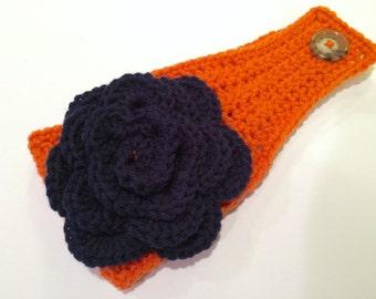 Head Wrap Fighting Ilini Orange and Blue U of I flower headwrap.