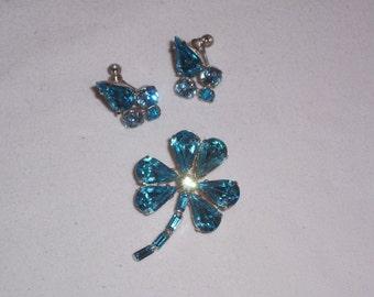 Vintage Aqua Rhinestone Earrings and Brooch Set
