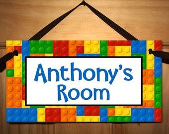 Building Blocks Bricks Boys Bedroom Playroom and Baby Nursery Kids Bedroom DOOR SIGN Wall Art DS0276