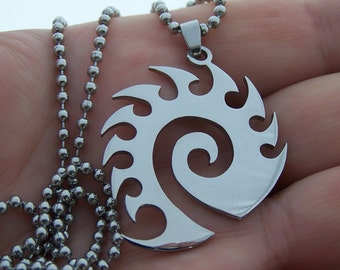 Zerg - stainless steel  pendant on ball chain mens or womens  gamer's necklace.
